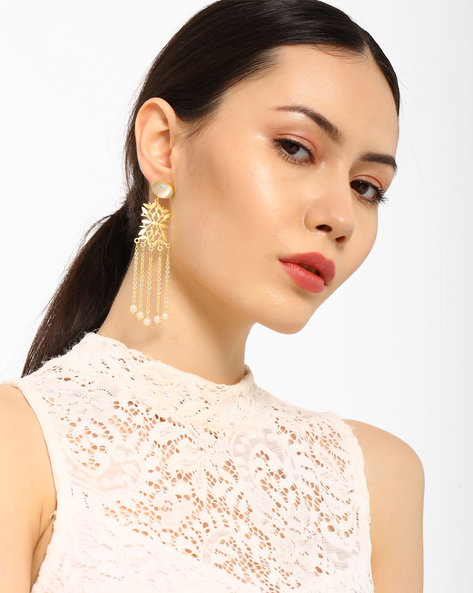 Tassel Drop-Earrings With Cut-Outs By AJIO ( Gold )
