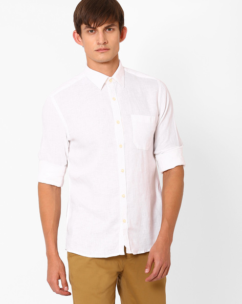 Linen Shirt With Patch Pocket By NETWORK ( White )