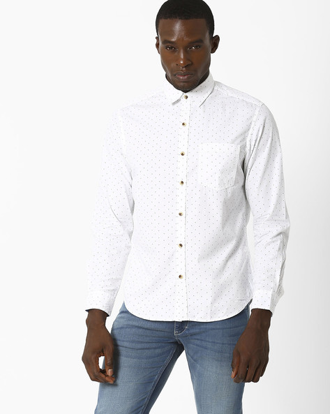 Printed Slim Fit Shirt By JOHN PLAYERS ( White ) - 440735690001