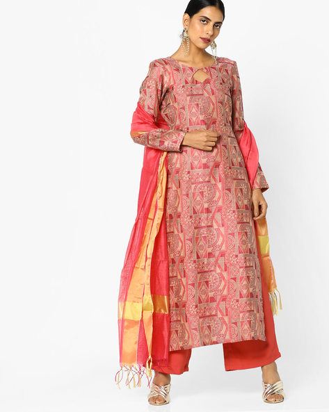 Printed Unstitched Dress Material By Parmita ( Pink )