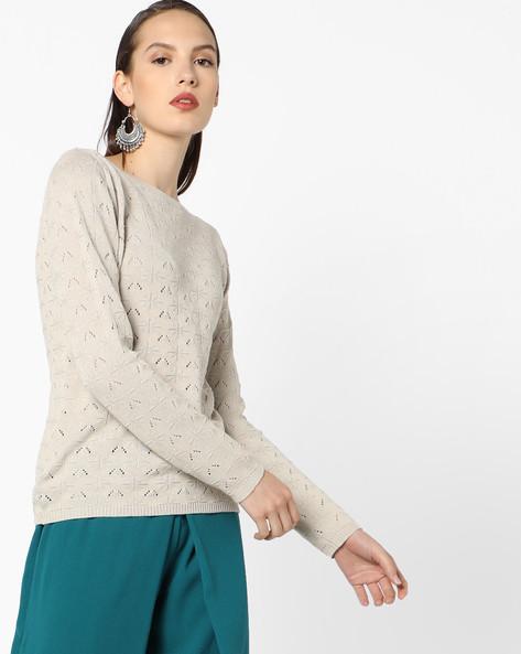 Textured Crew-Neck Sweater By AJIO ( Cream )