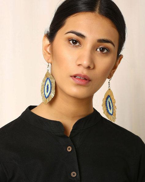 Beaded Dangler Earrings By Indie Picks ( Gold )