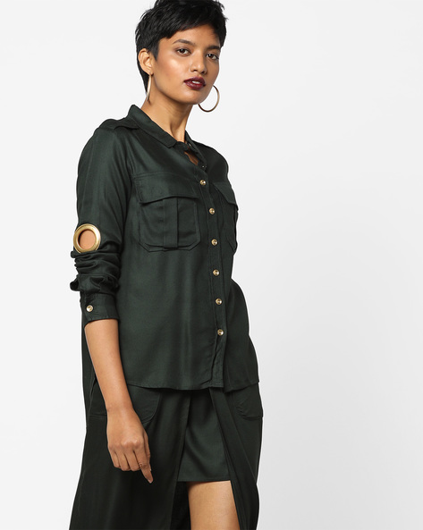 High-Low Shirt With Flap Pockets By AJIO ( Green )