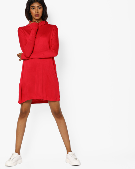 A-line Dress With Cowl Neck By AJIO ( Red )