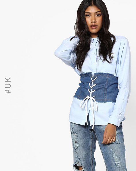 Denim Corset Belt With Frayed Hems By INFLUENCE ( Darkblue )