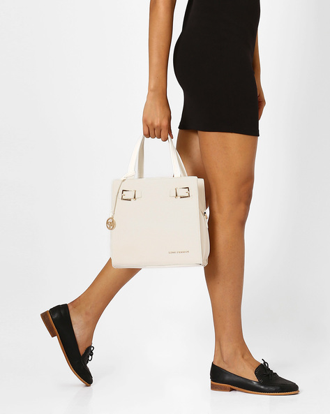 Textured Leatherette Handbag By Lino Perros ( White )