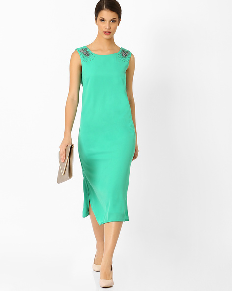 Sleeveless Midi Dress By AJIO ( Aqua )