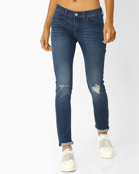 Skinny Fit Distressed Jeans By LEVIS ( Black )