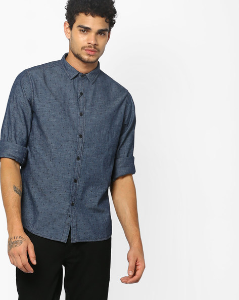Ditsy Print Slim Fit Shirt By AJIO ( Blue ) - 460083406002