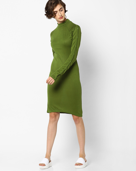 High-Neck Bodycon Dress By AJIO ( Olive )