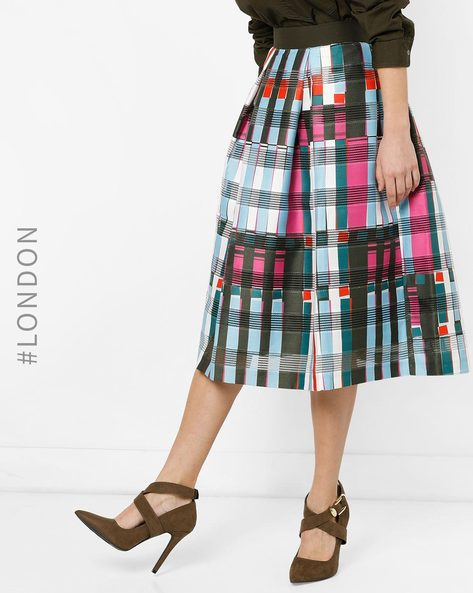 Checked Flared Skirt With Box Pleats By Closet London ( Multi )