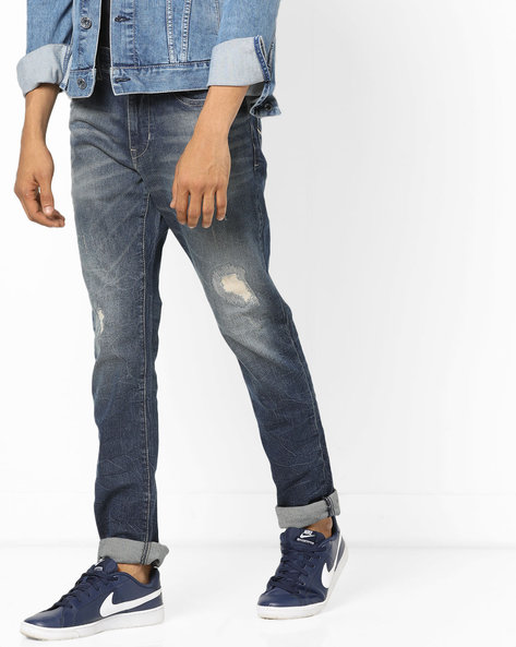 Brandon Heavily Washed Slim Tapered Jeans By US POLO ( Blue )