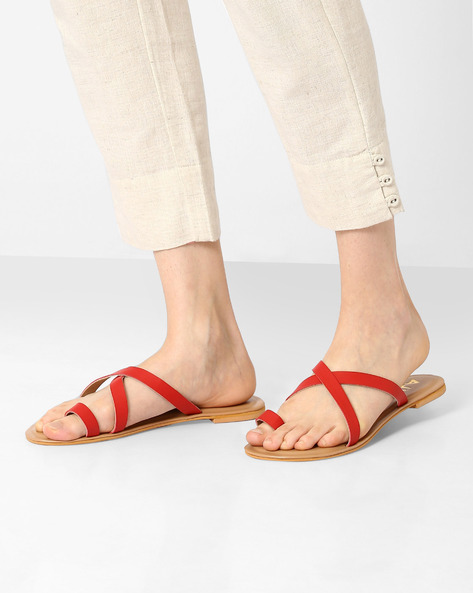 Faux-Leather Toe-Ring Flats By AJIO ( Red )