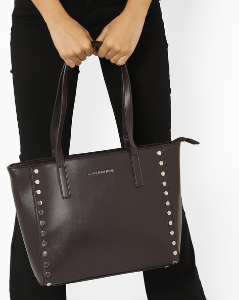 Embellished Tote Bag By Lino Perros ( Brown )