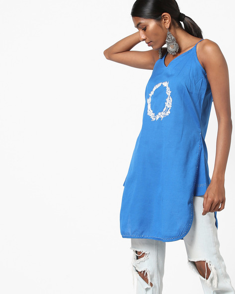 Embroidered Strappy Tunic With Tie-Up Back By AJIO ( Blue )