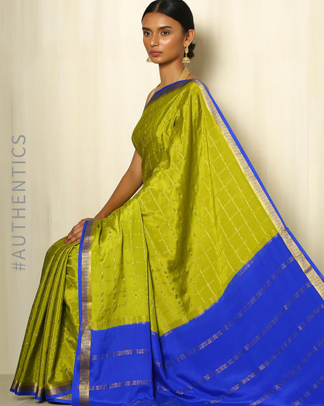 Pure Mysore Silk Crepe Saree By Indie Picks ( Lime )