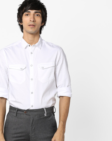 Shirt With Twin Flap-Pockets By AJIO ( White )
