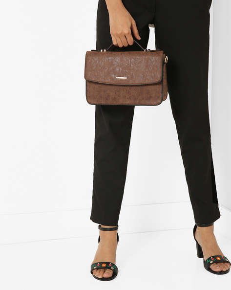 Textured Sling Bag With Adjustable Strap By Diana Korr ( Brown )