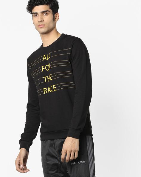 Typographic Print Crew-Neck Sweatshirt By UNITED COLORS OF BENETTON ( Black )