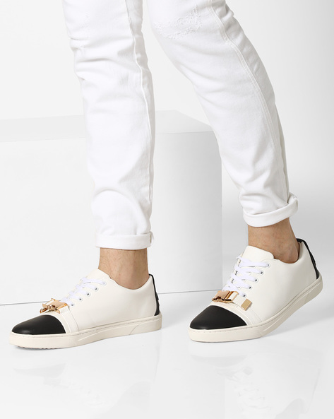 Lace-Up Sneakers With Click Clasp By AJIO ( White )