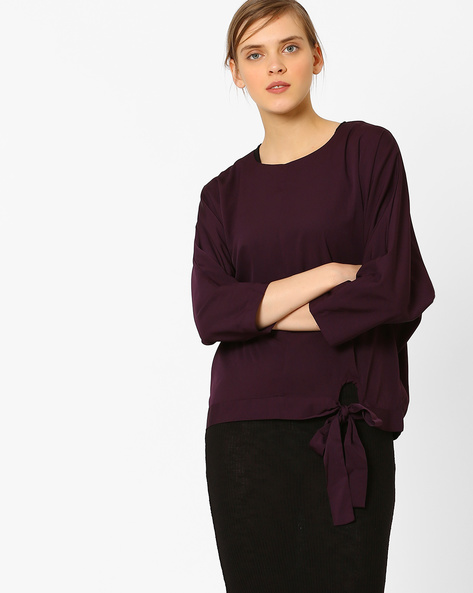 Top With Waist Tie-Up By AJIO ( Purple )