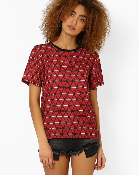 Printed High-Low Top By CHM ( Burgundy )