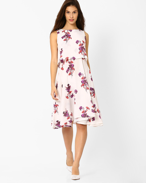 Floral Print Popover Dress By AJIO ( Offwhite )
