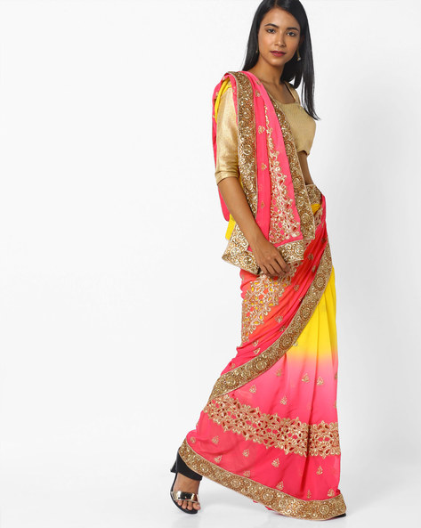 Embroidered Half-and-Half Saree By CHHABRA 555 ( Yellow )