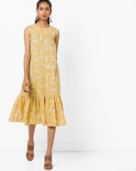 Graphic Print Sleeveless Dress By AJIO ( Mustard )