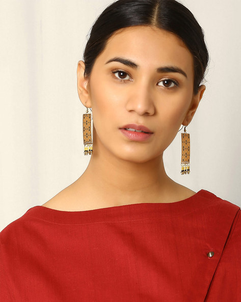 Brass Drop-Earrings By Indie Picks ( Yellow )