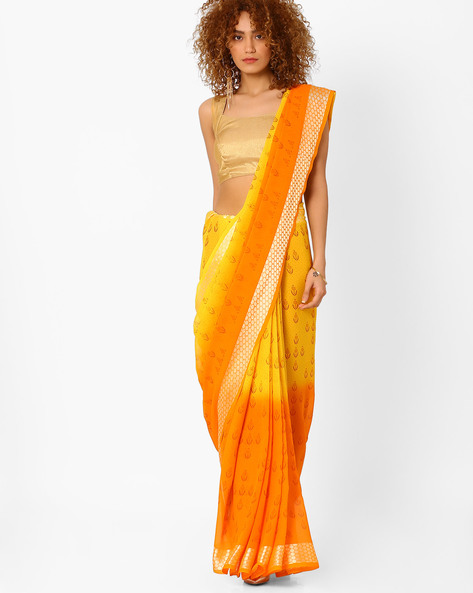 Brasso Printed Saree By Arissa ( Yellow )