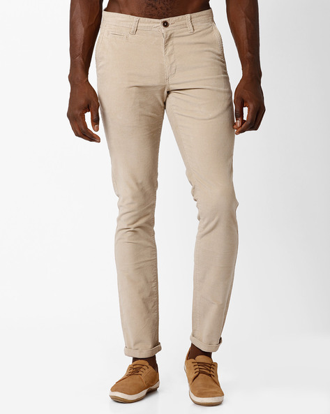 Mid-Rise Tapered Fit Chinos By NETPLAY ( Beige )