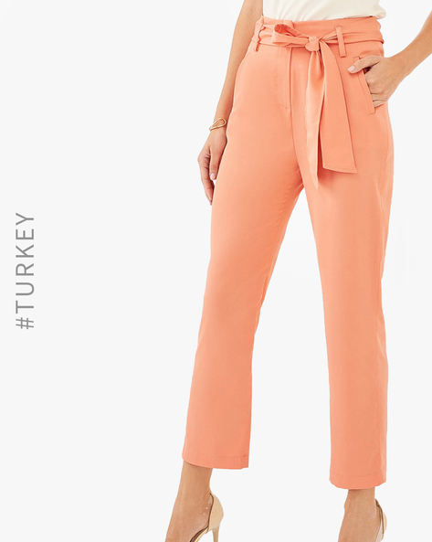 Flat Front Trousers With Tie-Up By TRENDYOL ( Orange )