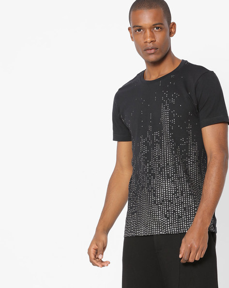 Slim Fit Graphic Print T-shirt By FLYING MACHINE ( Black )