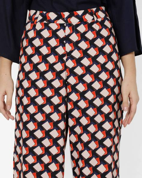 Geometric Print Ankle-Length Culottes By Project Eve WW Casual ( Navy )
