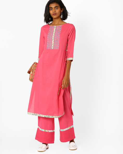 Straight Kurta With Side Tie-Ups By AJIO ( Pink )