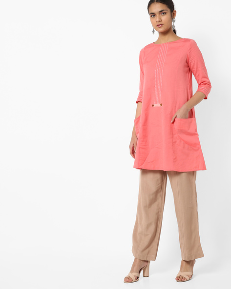 Straight Tunic With Side Pockets By AJIO ( Peach )