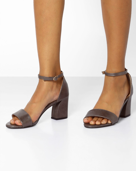 Chunky Heeled Sandals With Ankle Strap By AJIO ( Pewter )