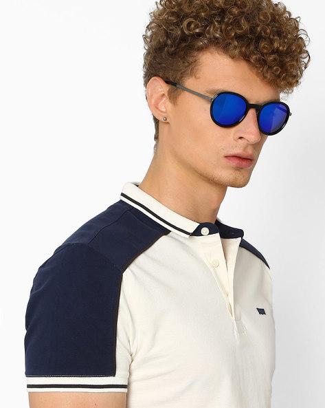 Mirrored Round Sunglasses By Joe Black ( Blue )