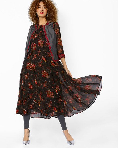 Floral Print Kurta With Embroidered Jacket By AJIO ( Black )