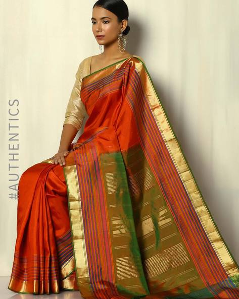 Handloom Arani Pure Silk Saree By Pretty Woman ( Olive )