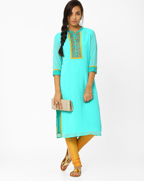 Kurta With Zari Embroidery By AJIO ( Blue )