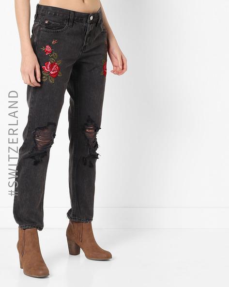 Heavily Distressed Boyfriend Jeans By TALLY WEiJL ( Black )