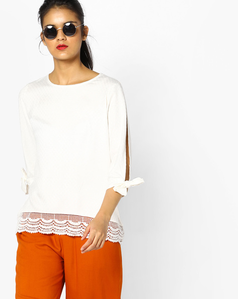 Woven Top With Split Sleeves By Project Eve WW Casual ( Offwhite )