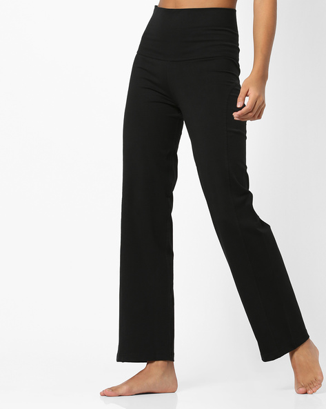 High-Waist Track Pants With Elasticated Waist By Proyog ( Black )