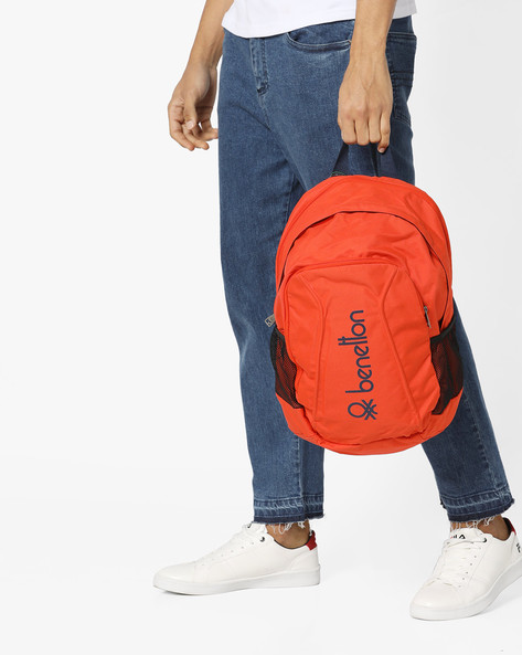 Printed Laptop Backpack By UNITED COLORS OF BENETTON ( Orange )
