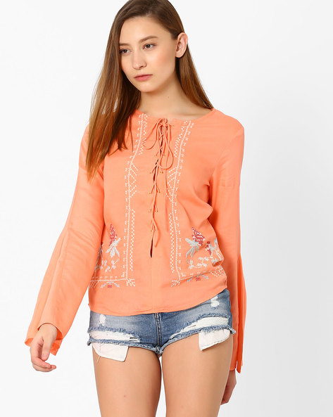 Lace-Up Top With Bell Sleeves By AJIO ( Pink )