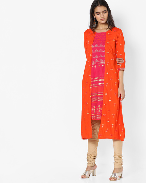 Foil Print Layered Kurta By Rangmanch By Pantaloons ( Orange )
