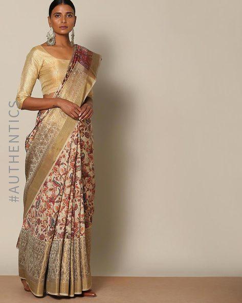 Banarasi Floral Print Pure Silk Saree By Rudrakaashe-MSU ( Grey )