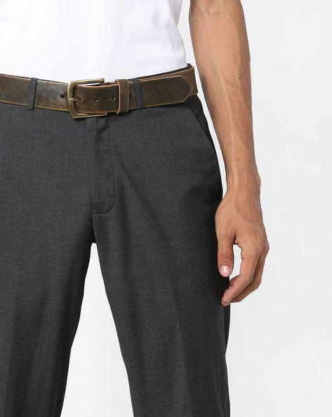 Genuine Leather Textured Belt By AJIO ( Navy )